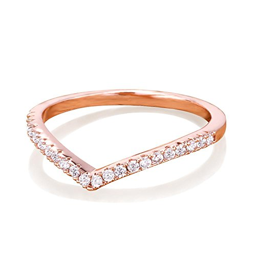 Samie Collection 0.22ctw CZ Chevron Wedding Band Stackable Rings Rose Gold, Gold, Rhodium Plating, (Chevron Wedding Bands)
