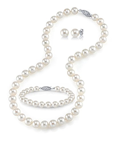 14K Gold 9-10mm White Freshwater Cultured Pearl Necklace, Bracelet & Earrings Set, 18'' - AAAA Quality by The Pearl Source