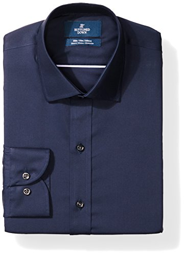 BUTTONED DOWN Men's Slim Fit Stretch Poplin Non-Iron Dress Shirt, Navy, 16.5