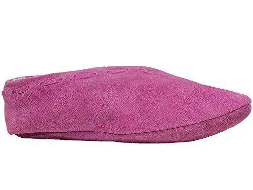 Ladies Real Suede Leather Spanish Faux Sheepskin Fur Lined Warm Soft Sole Slipper Boots Size 3-9 Fuchsia Em8PLsJG