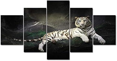 壁アート5パネルキャンバス絵画動物虎写真愛動物ルームポスターアートワーク40X60Cmx2 40X80Cmx2 40X100Cmx1フレームなし