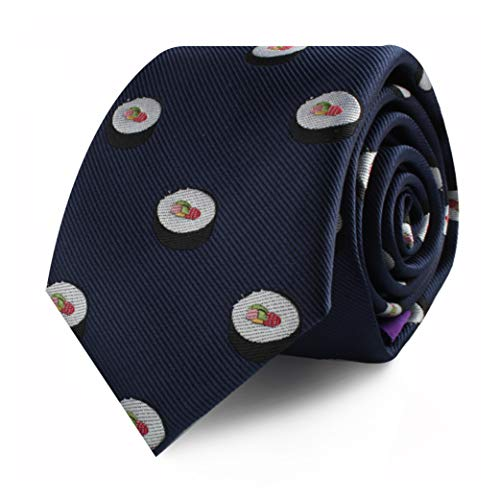 (Sushi Sashimi Rolls Necktie for Him | Thin Ties Neckties Japanese Skinny Neckties | Present for Work Colleague | Bday Gift for Guys (Sushi))