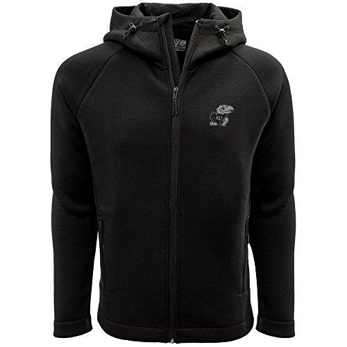 Levelwear LEY9R NCAA Kansas Jayhawks Adult Men Titan Insignia Strong Style Full Zip Hooded Jacket, Medium, Black