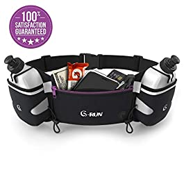 G-RUN Hydration Running Belt with Bottles – Water Belts for Woman and Men – iPhone Belt for Any Phone Size – Fuel Marathon Race Pack for Runners – Jogging Waist Pouch…