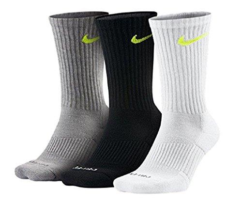 Nike Dri-FIT Cushion Crew Athletic Socks 3-Pack, Grey/Bk/Wt, L 8-12