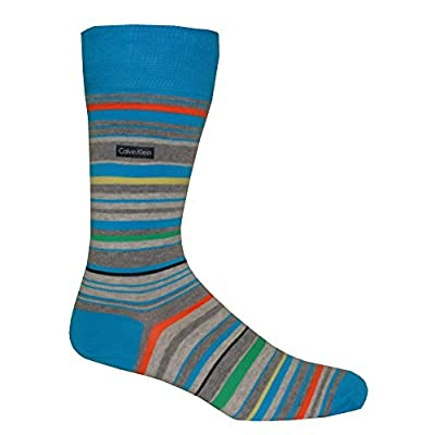 Calvin Klein Combed Cotton Barcode Multi-stripe Men's Socks, Fusion Blue