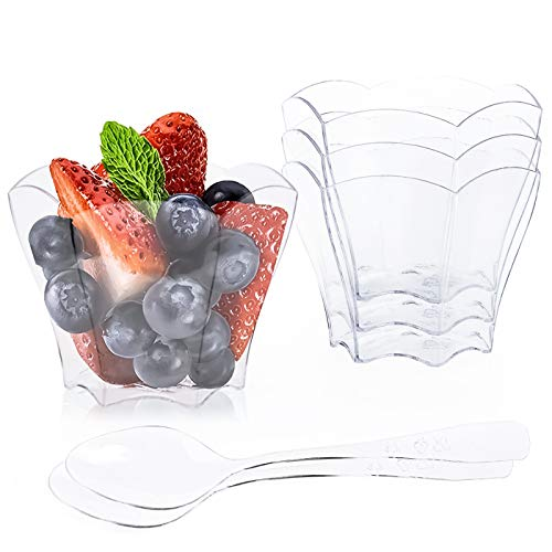 Kingrol 100 Count Mini Dessert Cups with Spoons, 2.3 oz. Disposable Clear Bowls for Mousse, Puddings, Appetizers, Sauces