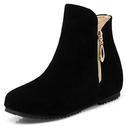 Easemax Women's Fashion faux Suede Zip Up Round Toe Low Wedge Hidden Heel Ankle High Boots Black Jf8ah