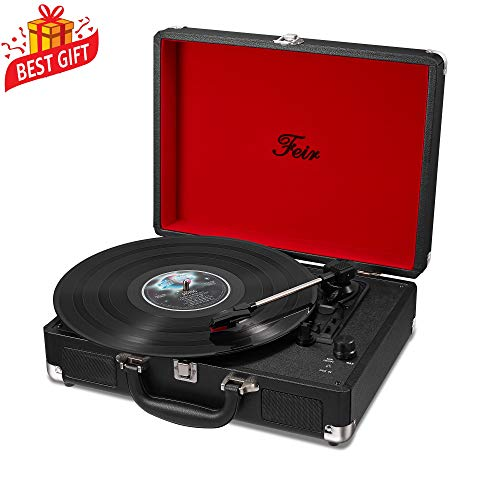 (Vinyl Stereo Black Record Player 3 Speed Portable Turntable Suitcase Built in 2 Speakers RCA Line Out AUX Headphone Jack PC Recorder)