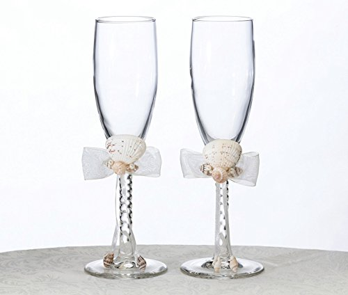 (Lillian Rose Coastal Beach Seashell Wedding Toasting Glasses )