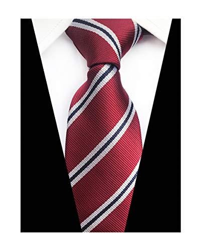Men Stripe Burgundy Red White Jacquard Ties Formal Necktie For Big Boy Youth Son