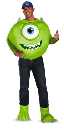 Disguise Men's Disney Pixar Monsters University Mike Deluxe Costume, Green/White/Blue, (Monster Costume Adults)