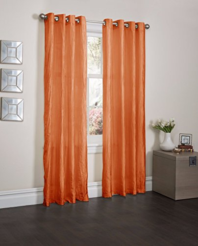 Orange 2 Pcs Brown Crushed Satin Window Curtain Panel, 8 Grommets, Curtains - 52''X84'' by Window Treatment