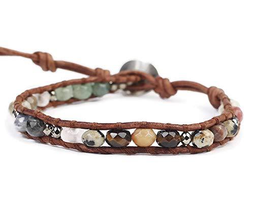 Chan Luu Multi Color Semi Precious Mineral Stone Beaded Leather Single Wrap Bracelet ()