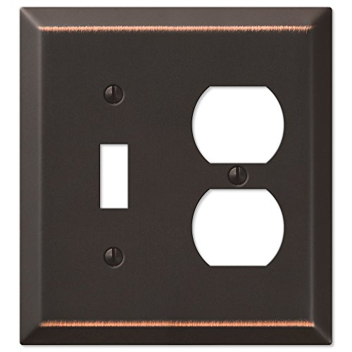 Amerelle Century Single Toggle/Single Duplex Steel Wallplate in Aged Bronze