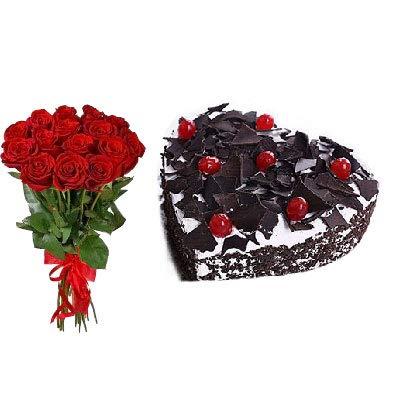 FLOWER AND GIFTS Heart Shape Black Forrest Cake Flower 1 Kg Red Amazonin Home Kitchen
