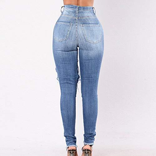 Clair Bleu Jeans Stretch Dchir Pantalon Denim Collant en Pants Trou Taille Fit Femme Skinny Slim Casual Vintage Dihope Haute Crayon HUxBwx