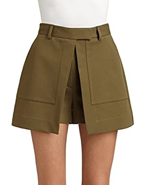 Theory Caslyn Wrap Front Shorts, Cactus Green, 12!