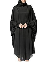 KLJR Women Muslim Pure Color Arabic Hijab Bat Sleeve Abaya Dress