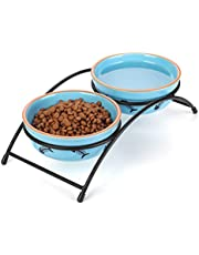 Y YHY Ceramic Raised Pet Cat Bowls, 12 Ounces Elevated Food or Water Bowls, Double Cat Dishes, Cat, Fish Bone Design, Blue