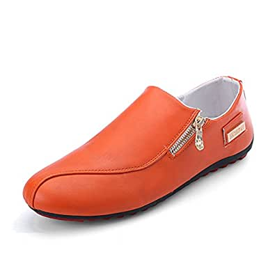 VICULA Men's Loafer and Slip on Walking Driving Shoes Leather Upper Outdoor Casual Shoes Orange