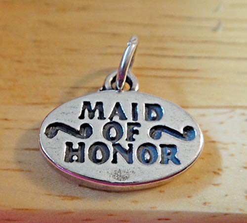 Sterling Silver 15x19mm Solid 3gram Oval Wedding Maid of Honor Charm
