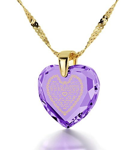 1 Light Eternity Pendant - Gold Plated Mom Necklace - Heart Pendant Inscribed in 24k Gold on Light Purple Cubic Zirconia, 18