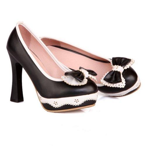 BalaMasa Stivali di gomma solida tacchi alti scarpe pompa, Nero (Black), 35 EU