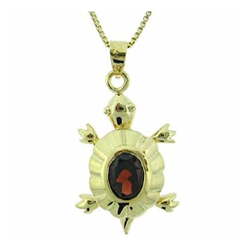 (Glitzs Jewels Gold Tone Over Sterling Silver 1.5Ct Garnet Turtle Pendant)
