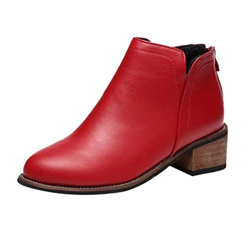 DAYSEVENTH Clearance Fashion Ladies Zipper Martin Boots Leather Ankle Boots Scrub Block Heel Shoes Red