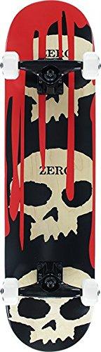 "Zero Skateboards 3 Skull Blood Natural/Red/Black Complete Skateboard - 7.62"" x 31.9"""
