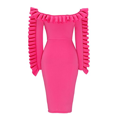 Shoulder Dress Bodycon Dresses with Ruffled Pleated Trim Size XL Rose Red ()