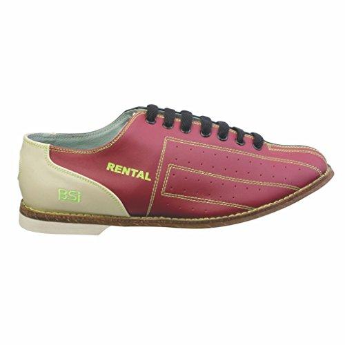 BSI Herren Rindsleder Kosmische Vermietung Bowling Schuhe-Klettverschluss Rot blau