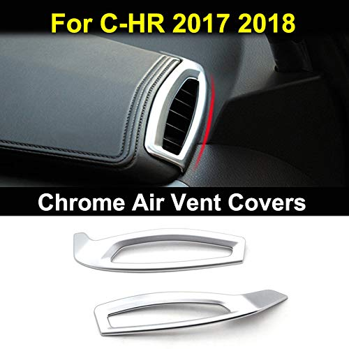 AUTOXBERT Fits for Toyota C-HR CHR 2017 2018 Left Hand Drive Chrome Inner Dashboard Front Side Air Condition Vent Outlet Cover Trim Bezel Frame Molding Garnish