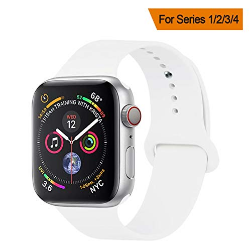 h for Apple Watch Band 42mm 44mm, Soft Silicone Sport Band Replacement Wrist Strap Compatible with for iWatch Nike+,Sport,Edition,S/M,White ()
