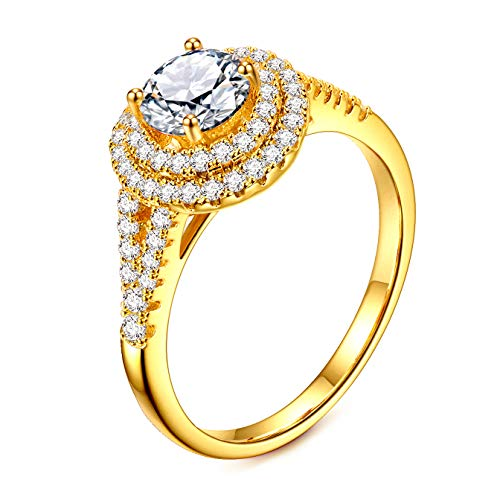 Cubic Zirconia Ring 24K Rose Gold Plated Halo Engagement Wedding Rings for Women (Yellow, 8)
