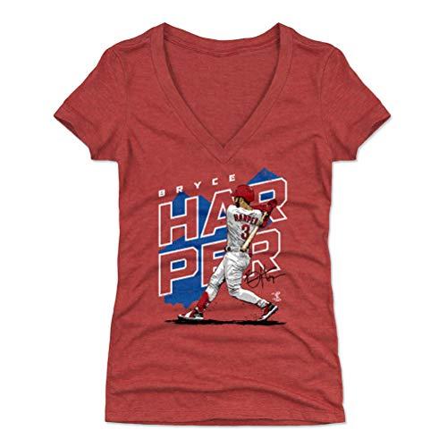 500 LEVEL Bryce Harper Women's V-Neck Shirt (Medium, Tri Red) - Philadelphia Baseball Shirt for Women - Bryce Harper Player Map B WHT