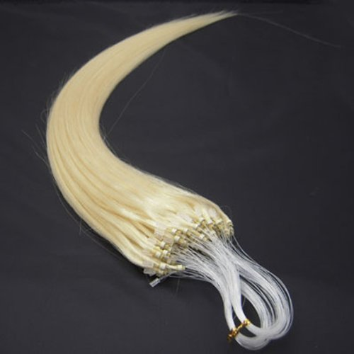 (18'' Remy Loops Micro Rings Beads Tipped Human Hair Extensions 17colors for Your Best Selection (#60-platinum blonde))