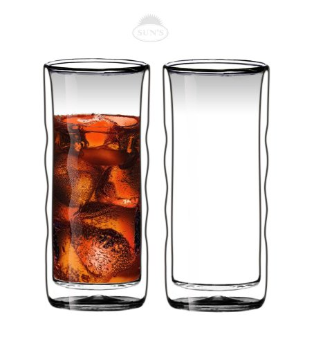 Sun's Tea(TM) 20oz Ultra Clear Strong Double Wall Insulated Thermo Wave Glass Tumbler Highball Glass for Beer/Cocktail/Lemonade/Iced Tea, Set of - Double Wall Wave
