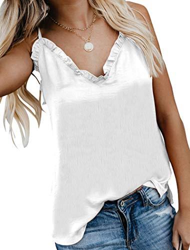 Hilltichu Women's V-Neck Ruffle Camisole Button Down Shirt Adjustable Spaghetti Strap Tank Top - Cotton Frill Top