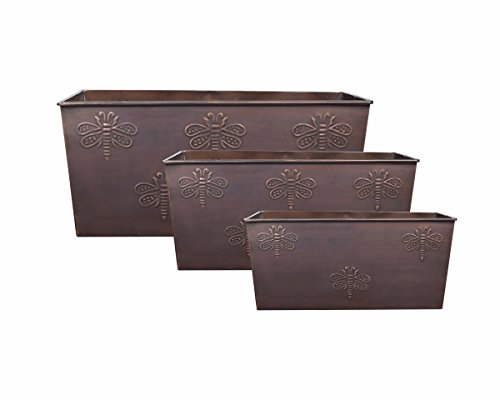 Decorative Metal Planter Set of 3 Indoor Outdoor Flower Pot Tree Holder Storage Basket Bin Containers Rack In Bronze Color Butterfly Design Garden Lawn Display Ideal Home Garden Party Supplies