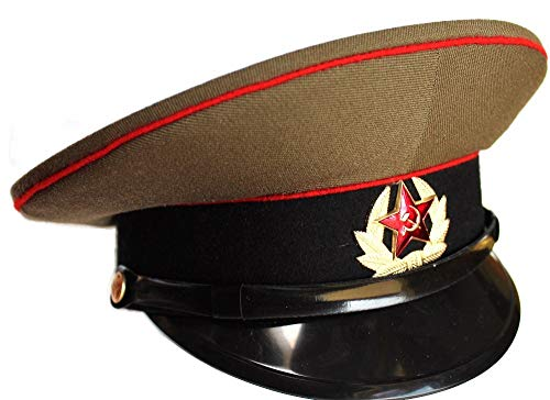 Soviet/ USSR Army Military Hat / Cap ORIGINAL + Soviet Red Star Badge Russian size 56 (US 7) ()