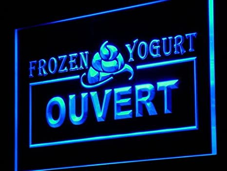 ADVPRO Cartel Luminoso j164-b Ouvert Open Frozen Yogurt Cafe ...