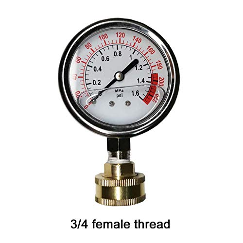 Single Scale Pressure Gauge - YZM Stainless Steel 304 Single Scale Liquid Filled Pressure Gauge with Brass Internals, 2-1/2