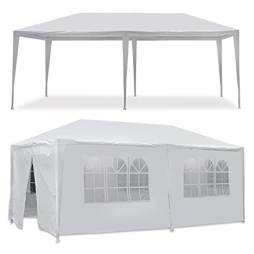 Waterproof Shelter Large 20 x 10 Ft Removable Window Style Sidewall 2 Zip Door Heavy Duty Party Tent 6 Pcs White - Powder Coated Steel Frame Pole | Used for Outdoor Wedding Event Dancing Gazebo Canopy (Frame Tent Pole)
