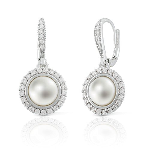JanKuo Jewelry Rhodium Plated Bridal White Simulated Pearl CZ Halo Euro Wire Earrings