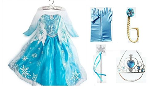 Frozen Dress-Deluxe Elsa Dress-Up PACKAGE-Includes Dress & Accessories (2T/3T (100))