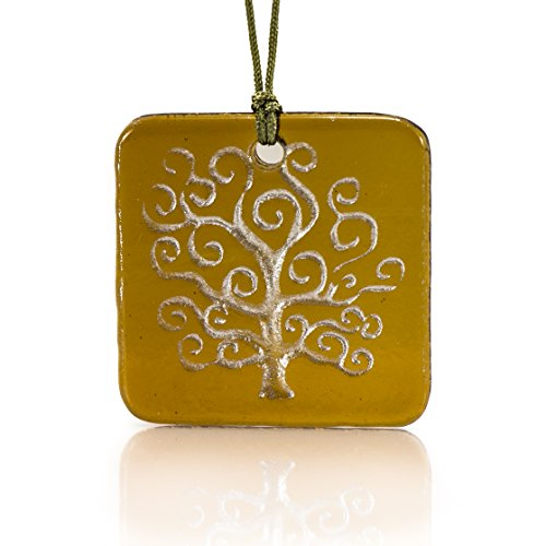 Moneta Jewelry, Recycled Glass Tree of Life Pendant Necklace, Handmade, Fair Trade, Unique Gift (Amber)