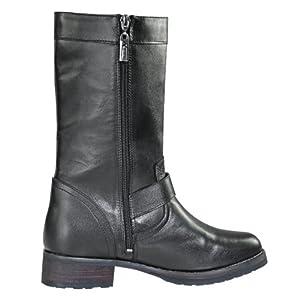Xelement LU8596 Stud Cross Womens Black Leather Biker Boots - 8 1/2