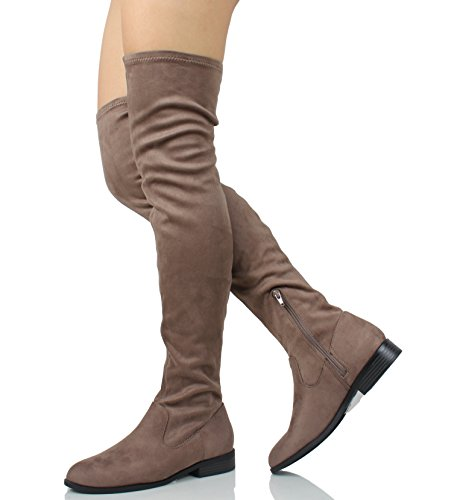 City Classified Damen Geschlossene Zehe Overknee Low Heel Boot Dunkle Taupe